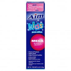 Aim Toothpaste Fir Kids 2 pack 4.4Oz Mega Bubble Berry Gel