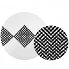 """CoupeWare Plastic Plates 1 pack 32ct Houndstooth Combo (10.25"""" & 7.5"""")"""