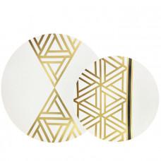 "CoupeWare Plastic Plates 1 pack 32ct Triangle Deco Combo (10.25"" & 7.5"")"