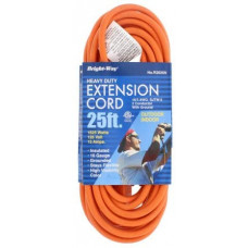 Bright-Way Outdoor Extention Cord Heavy Duty 1 pack 1Ct Safety Orange Color 25Ft Grounded