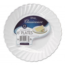 "Classicware Plates 6"" 1 pack 12Ct White"