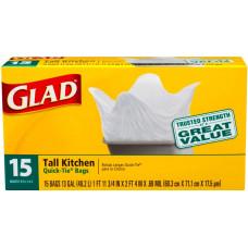 Glad Tall Kitchen 13Galllon 1 Pack 15Ct Quick Tie