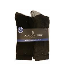 London Fog Mens 1/2 Cushion Crew Socks 1 pack 6Pairl 98% Polyester 2% Spandex 11-13