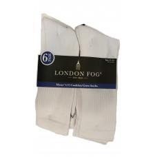London Fog Mens' 1/2 Cushion Crew Socks 1 pack 6Pair 98% Polyester 2% Spandex White 11-13