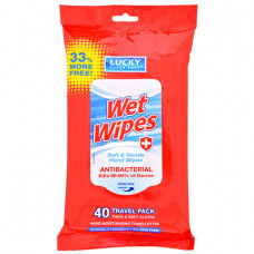 Lucky Super Soft Antibacterial Wet Wipes 1 pack 40Ct Alcohol-Free