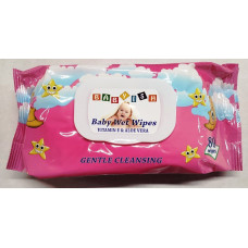 Babyish Baby Wipes Refill 1 Pack 80Ct FlipTop Pink