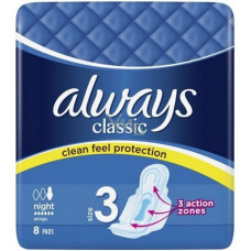 Always Classic 1 Pack 8Ct Night W/Wings