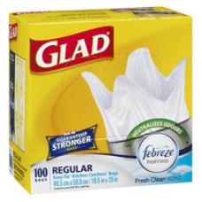 Glad Tall Kitchen 13Gallon 1 Pack 100Ct White W/Febreze Fresh Scent Easy Tie