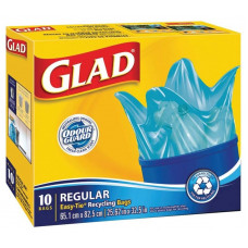 Glad Recycling Trash 20Gallon 1 Pack 10Ct Easy Tie Blue