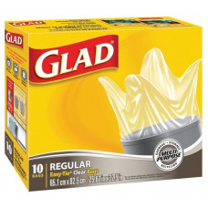 Glad Recycling Trash 20Gallon 1 Pack 10Ct Easy Tie Clear