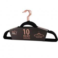Ideal Home Velvet Hangers 1 Pack 10Ct Black Rose Gold
