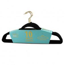 Ideal Home Velvet Hangers 1 Pack 10Ct Black Gold
