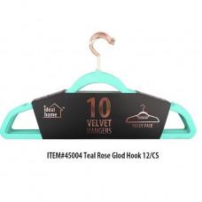 Ideal Home Velvet Hangers 1 Pack 10Ct Teal Rose Gold