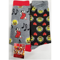 Emoji  Mens'  Crew Socks 1 pack 2Pair 98% Polyester 2% Spandex Music Lady Dancing 10-13