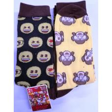 Emoji Mens' Crew Socks 1 pack 2Pair 98% Polyester 2% Spandex Monkey & Smileys 10-13