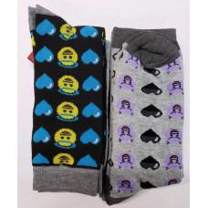 Emoji  Mens'  Crew Socks 1 pack 2Pair 98% Polyester 2% Spandex Angel Devil10-13