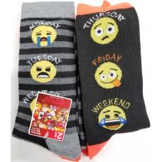 Emoji  Mens'  Crew Socks 1 pack 2Pair 98% Polyester 2% Spandex Days Of The Week 10-13
