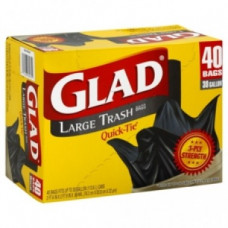 Glad Trash 30Gallon 1 Pack 40Ct Black Quick-Tie