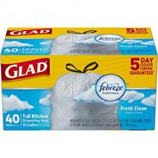 Glad Tall Kitchen 13Gallon 1 Pack 40Ct White Drawstring 13Gal Odor Shield