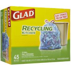 Glad Recycling Tall Kitchen 13Gallon 1 Pack 45Ct  Drawstring Blue