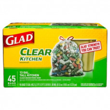 Glad Recycling Tall Kitchen 13Gallon 1 Pack 45Ct  Drawstring Clear