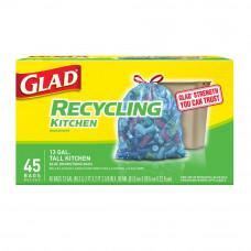 Glad Recycling Trash 30Gallon 1 Pack 28Ct  Drawstring Blue