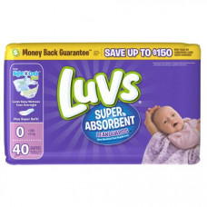 Luvs Diapers Jumbo 4 Pack 40Ct With Night Lock Newborn